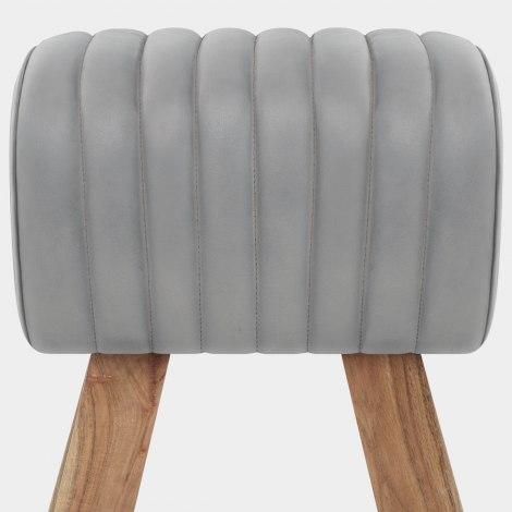 Mini Pommel Stool Antique Grey Leather Seat Image