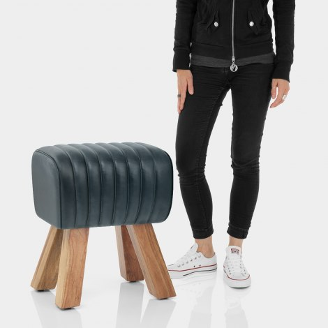 Mini Pommel Stool Antique Slate Leather Features Image