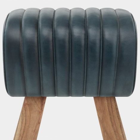 Mini Pommel Stool Antique Slate Leather Seat Image