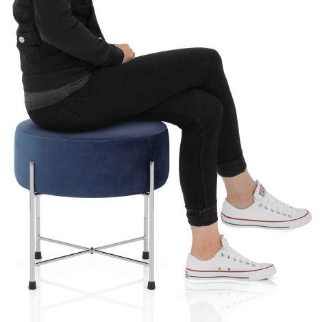 Minuet Stool Blue Velvet Seat Image