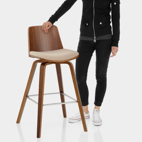 Mirage Wooden Stool Beige Fabric Features Image