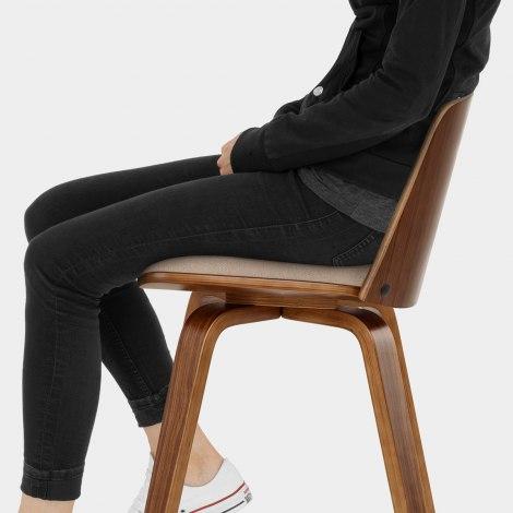 Mirage Wooden Stool Beige Fabric Seat Image