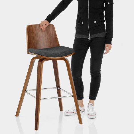 Mirage Wooden Stool Charcoal Fabric Features Image