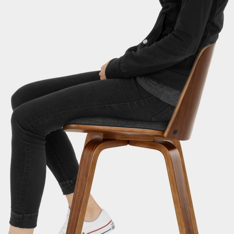 Mirage Wooden Stool Charcoal Fabric Seat Image