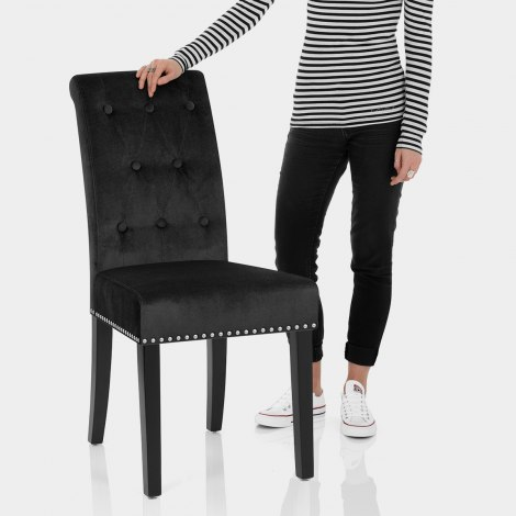 Moreton Dining Chair Black Velvet Features Image