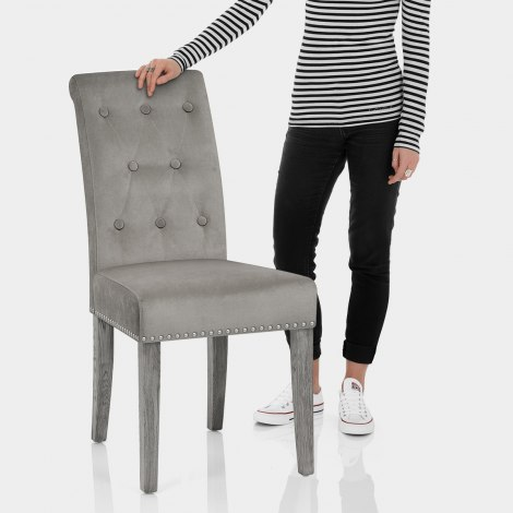 Moreton Dining Chair Grey Velvet Features Image