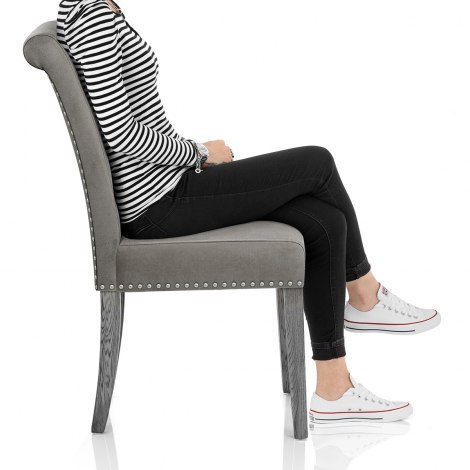Moreton Dining Chair Grey Velvet Frame Image