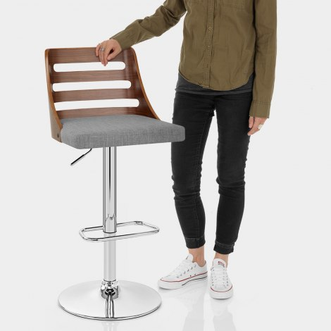 Muse Walnut Stool Grey Fabric Features Image