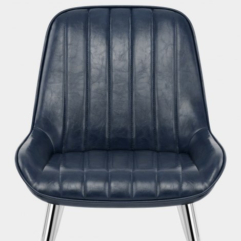 Mustang Chrome  Chair Antique Blue Seat Image