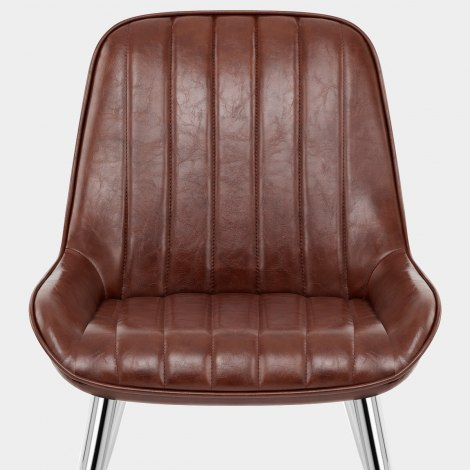 Mustang Chrome Chair Antique Brown Seat Image