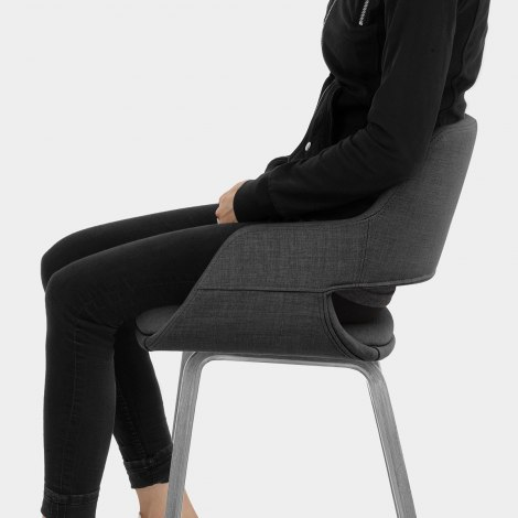 Nappa Bar Stool Charcoal Fabric Seat Image