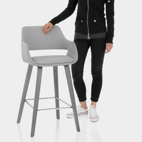 Nappa Bar Stool Grey Fabric Features Image