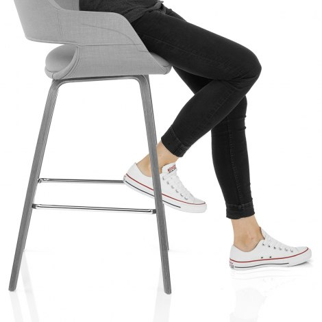 Nappa Bar Stool Grey Fabric Frame Image