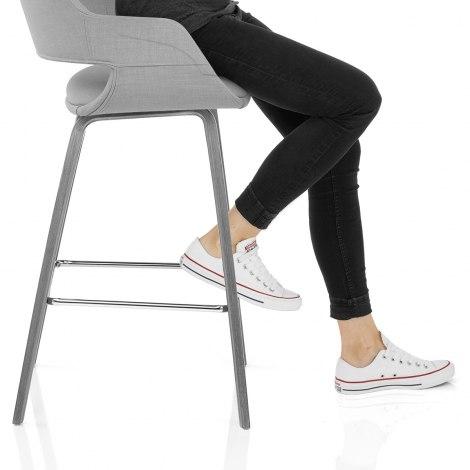 Nappa Bar Stool Grey Fabric Seat Image