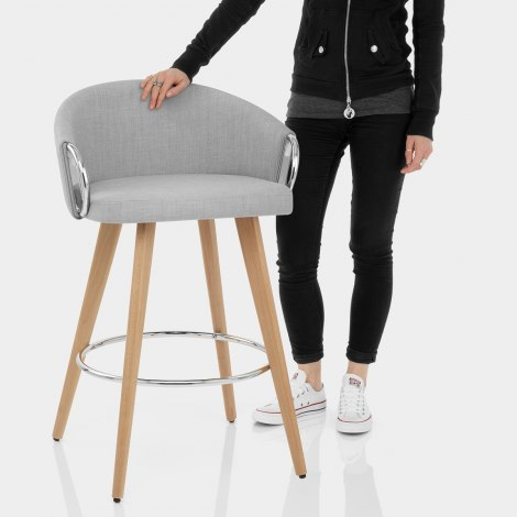 Neo Wooden Stool Grey Fabric Features Image