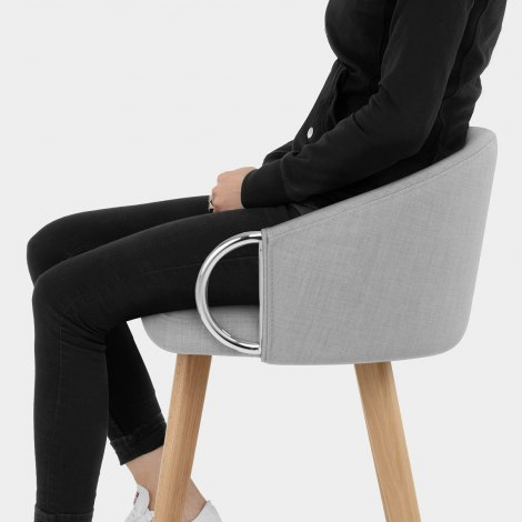 Neo Wooden Stool Grey Fabric Seat Image