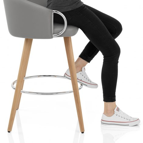 Neo Wooden Stool Grey Leather Frame Image