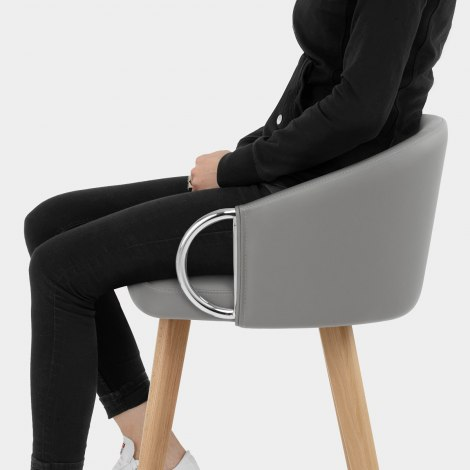 Neo Wooden Stool Grey Leather Seat Image