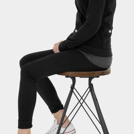 Nest Industrial Stool Dark Wood Seat Image