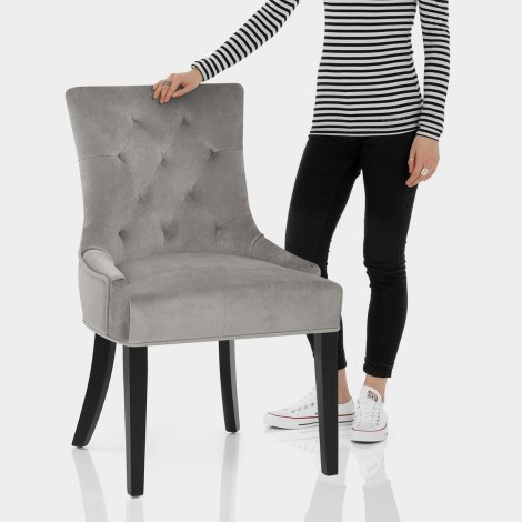 Newbury Dining Chair Grey Velvet Features Image