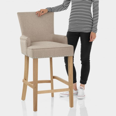 Nico Wooden Stool Tweed Fabric Features Image