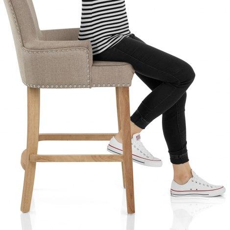 Nico Wooden Stool Tweed Fabric Seat Image