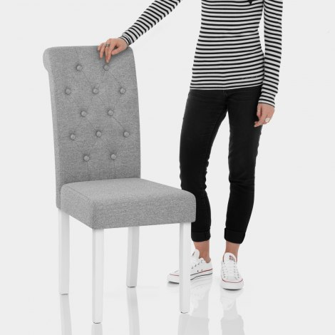 Ohio Dining Chair Grey Fabric Features Image