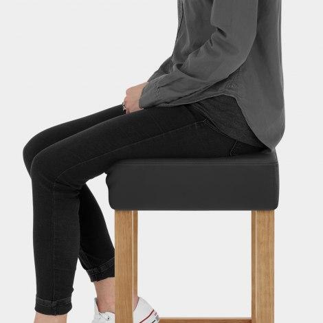 Oliver Oak Bar Stool Black Seat Image
