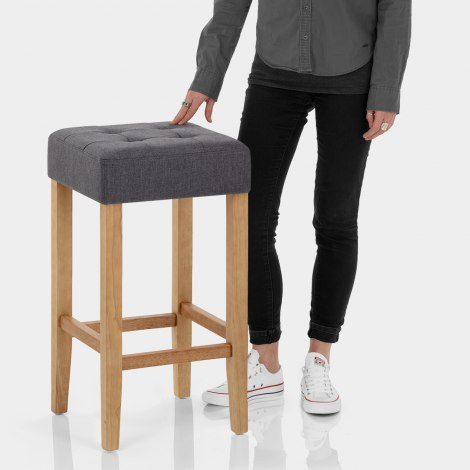 Oliver Oak Stool Charcoal Fabric Features Image