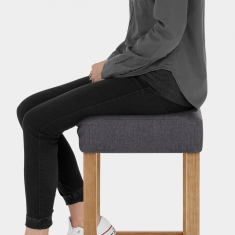 Oliver Oak Stool Charcoal Fabric Seat Image