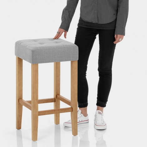 Oliver Oak Stool Grey Fabric Features Image