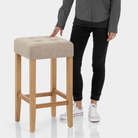 Oliver Oak Stool Tweed Fabric Features Image
