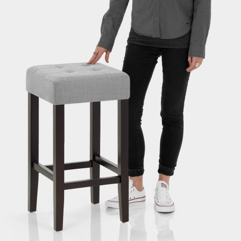 Oliver Wenge Stool Grey Fabric Features Image