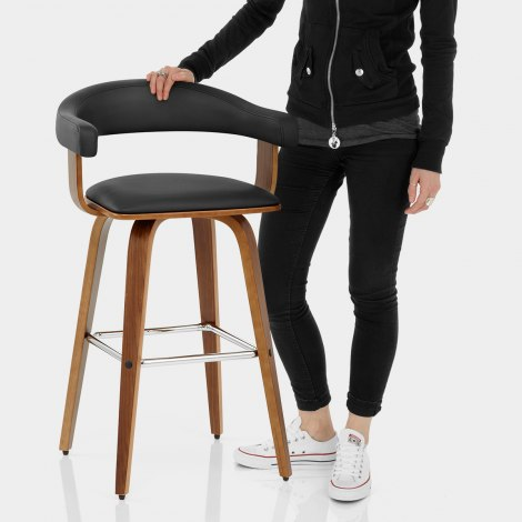 Ontario Walnut Bar Stool Black Features Image