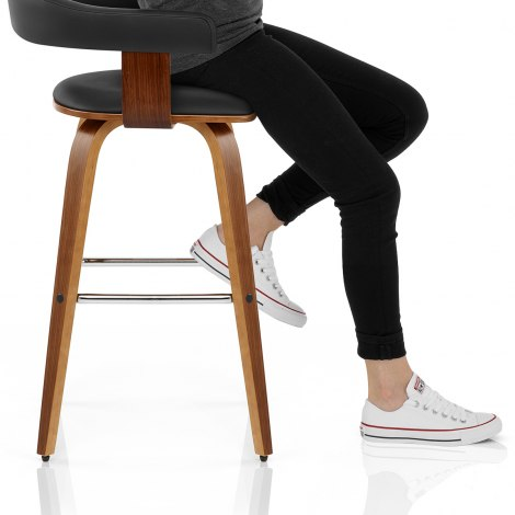 Ontario Walnut Bar Stool Black Seat Image