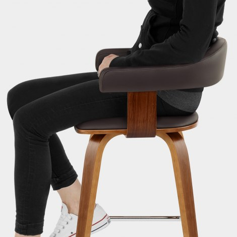 Ontario Walnut Bar Stool Brown Seat Image