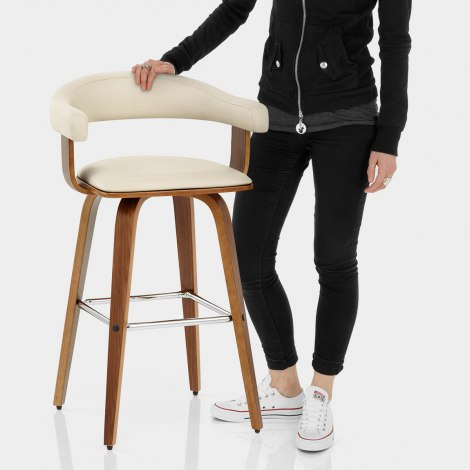 Ontario Walnut Bar Stool Cream Features Image