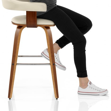Ontario Walnut Bar Stool Cream Seat Image