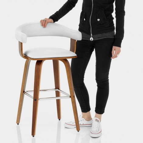 Ontario Walnut Bar Stool White Features Image