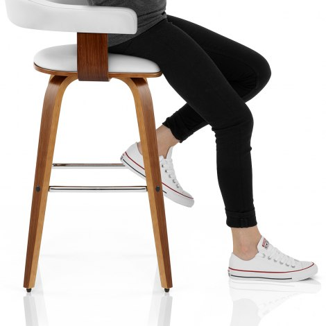 Ontario Walnut Bar Stool White Seat Image