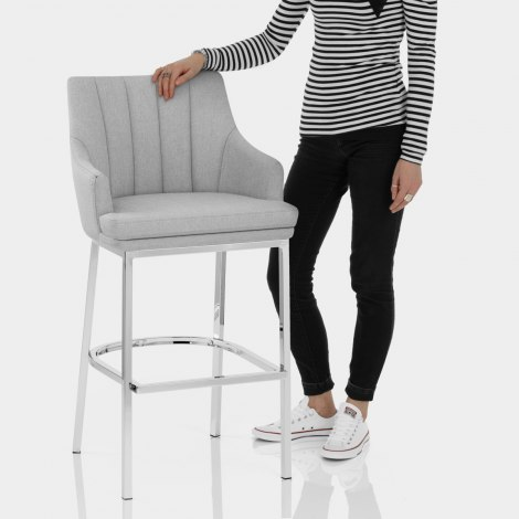 Orion Bar Stool Grey Fabric Features Image