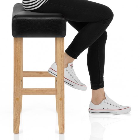 Otis Oak Bar Stool Black Seat Image