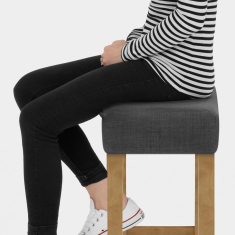 Otis Oak Bar Stool Charcoal Fabric Seat Image