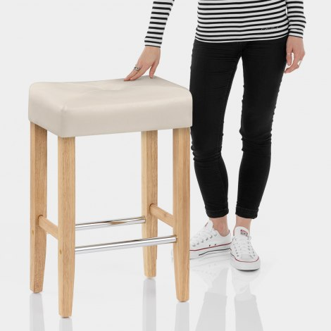 Otis Oak Bar Stool Cream Features Image