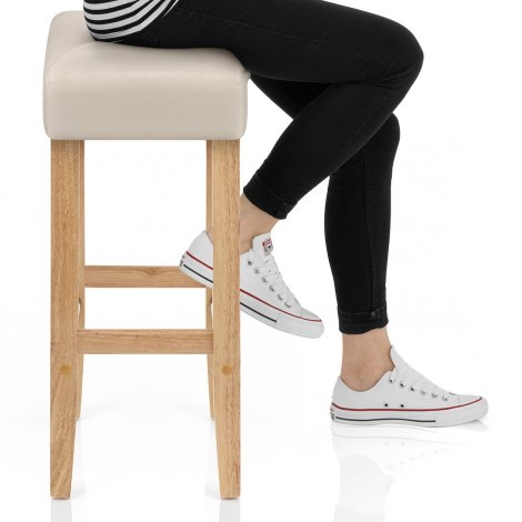 Otis Oak Bar Stool Cream Seat Image