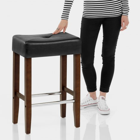 Otis Walnut Bar Stool Black Features Image