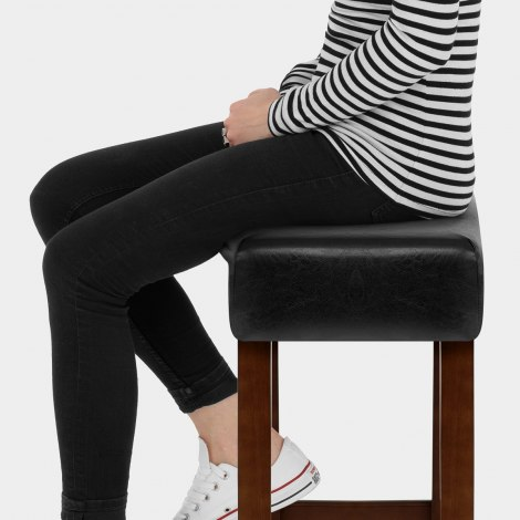 Otis Walnut Bar Stool Black Seat Image