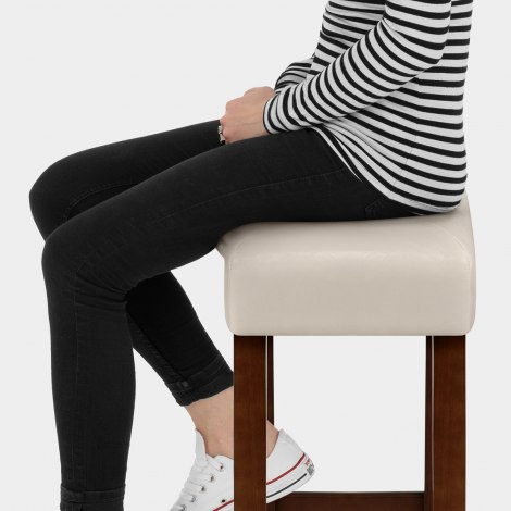 Otis Walnut Bar Stool Cream Seat Image