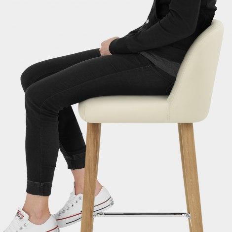 Pacific Wooden Stool Cream Seat Image