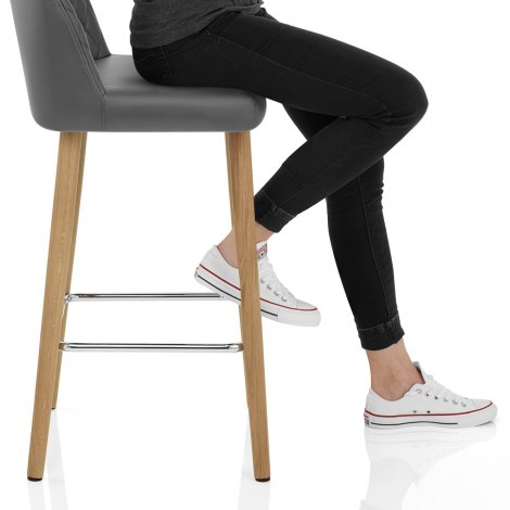 Pacific Wooden Stool Grey Seat Image